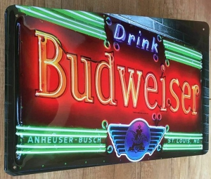 Blechschild-3D---BUDWEISER-BEER---NEON-OPTIK