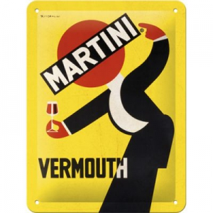 Blechschild-3D---MARTINI---VERMOUTH-WAITER-YELLOW