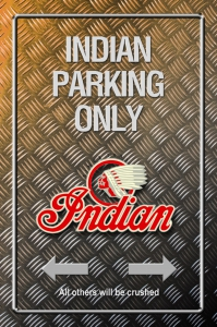 Metallic-Blechschild---INDIAN-PARKING-ONLY