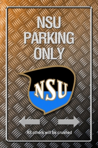 Metallic-Blechschild---NSU-PARKING-ONLY