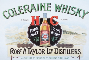 Blechschild---COLERAINE-WHISKY-PURE-PALT-IRISH