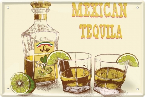 Blechschild---MEXICAN-TEQUILA-WITH-LEMON---GELB