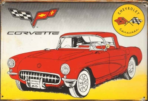 Rusty-Blechschild---CHEVROLET-CORVETTE-CHECKER-FLAG
