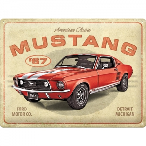 Blechschild-3D---FORD-MUSTANG-67---FORD-CO-DETROIT-MICHIGAN