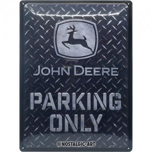 Blechschild-3D---JOHN-DEERE-PARKING-ONLY-DIAMOND-PLATZE-BLACK