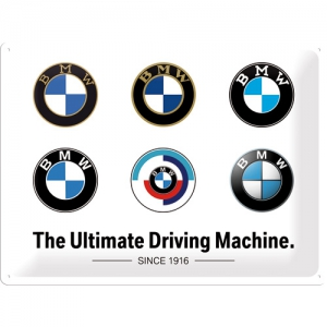 Blechschild-3D---BMW---LOGO-EVOLUTION---ULTIMATE-DRIVING