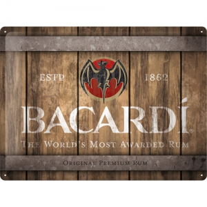 Blechschild-BACARDI-WOOD-BARREL-LOGO