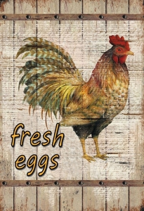 Blechschild---HUHN---FRESH-EGGS