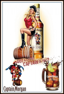 Blechschild---CAPTAIN-MORGAN-MIT-PIN-UP-GIRL