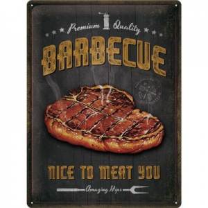 Blechschild-3D---BARBECUE---NICE-TO-MEAT-YOU