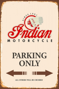 Rusty-Blechschild---INDIAN-MOTORCYLE-PARKING-ONLY