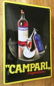 Blechschild-3D---CAMPARI-APERITIF-BAR-COCKTAIL---GELB