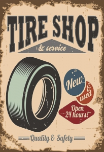 Blechschild---TIRE-SHOP--SERVICE---NEW-OPEN-24-HOURS