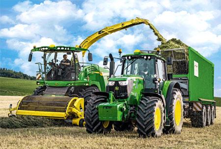 100 Teile Puzzle John Deere Traktor 6195 M U Feldhäcksler Big