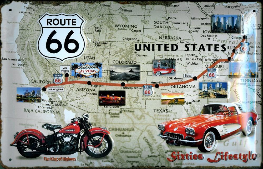 Blechschild 3d Route 66 Landkarte Auto Motorrad Big One Sale