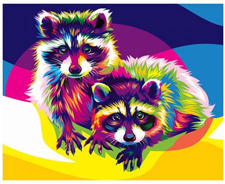 Malen Nach Zahlen Rogenbogenfarbene Waschbären