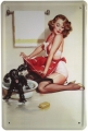 Blechschild - PIN UP GIRL MIT HUND