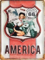 Stahlschild---ROUTE-66---AMERICA-MIT-PIN-UP