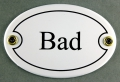 Emailleschild oval weiss - BAD