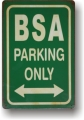 Rsty Blechschild - BSA - PARKING ONLY - GRÜN