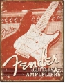Blechschild - FENDER - GUITAR WEATHERED