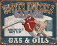Nostalgie Blechschild - BUSTED KNUCKLE GARAGE - GAS & OILS