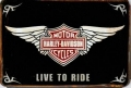 Rusty Metall Blechschild - HARLEY DAVIDSON-LIVE TO RIDE - 20 X 30 CM