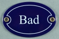 Emailleschild oval blau - BAD