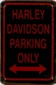 Rusty Metall Blechschild - HARLEY DAVIDSON PARKING ONLY - 20X30CM