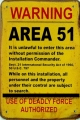 Rusty Blechschild - WARNING AREA 51 - 20X30CM